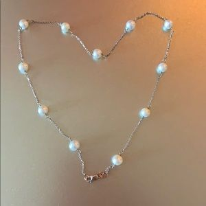 Genuine pearl and sterling silver necklace